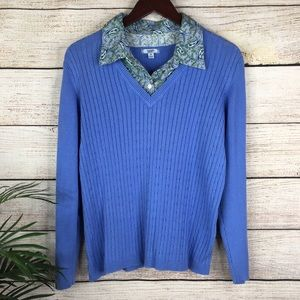 3/$20 IZOD Mock Layer Blue Ribbed Sweater 1X
